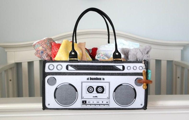 Bumbox boombox inspired diaper bag